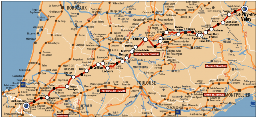 Carte AICR - Voie de Compostelle - Voie du Puy en Velay ou Via Podiensis passant par Conques, Cahors et St Jean Pied de Port