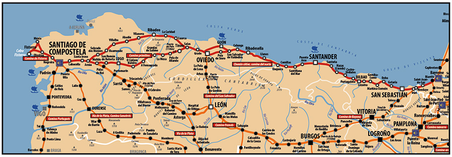 Carte ACIR - Voie de Compostelle reliant le sud ouest de la France (Côte Atlantique) à Santiago passant par Bilbao, Santander, Gijon et Oviedo