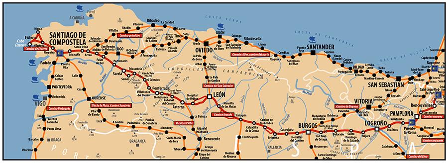 Carte AICR - Voie de Compostelle - Le camino frances est le chemin mythique reliant St Jean Pied de Port à Santiago. Il passe par Burgos et Leon. Les pélerins ont coutume d'aller jusqu'à Fisterra.