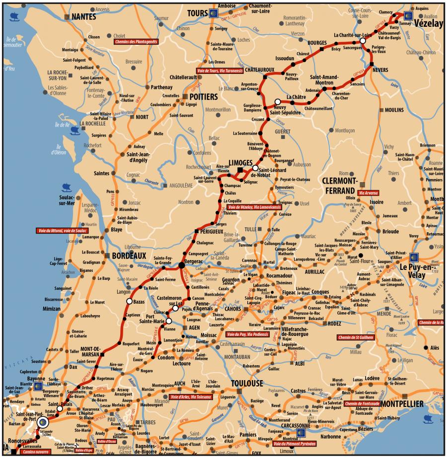 Carte ACIR - Voie de  Compostelle : voie de Vézelay ou Via Lemovicensis passant par Nevers, Limoges, Mont de Marsan et St Jean pied de Port et Roncesvalles en Espagne