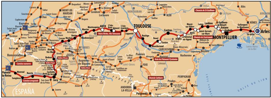 Carte AICR - Voie de Compostelle - Voie d'Arles ou Via Tolosana passant par montpellier, Toulouse et par le col su Somport