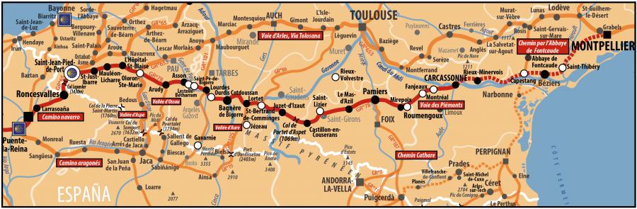 Carte AICR - Voie de Compostelle - Voie du Piémont pyrénéen reliant l'Italie à l'Espagne et passant par Montpellier, Béziers, Carcassonne, Pamiers, Lourdes et St Jean Pied de Port